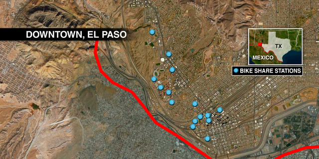 The 16 bike stations scattered around downtown El Paso, very close to an international bridge.