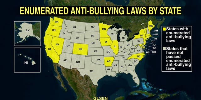 States that have some protections for harassment and/or bullying of students based on sexual orientation and gender identity.