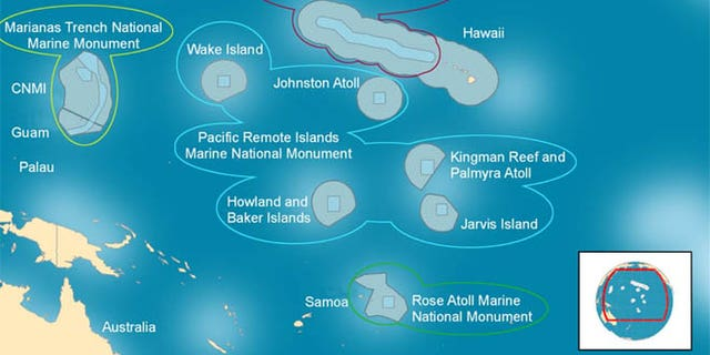 Shown here, center, is a map of the Pacific Remote Islands Marine National Monument, which the Obama administration is looking to significantly expand.