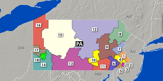 The Supreme Court of Pennsylvania had ruled that a 2011 GOP-crafted district map violated the state constitution's guarantee of free and equal elections. The new map, above, was handed down by the court in February.
