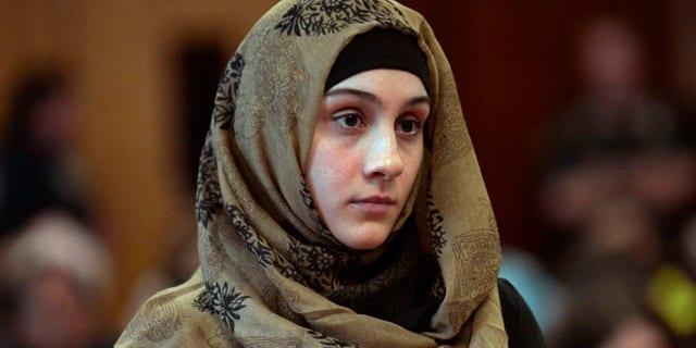Sept. 30, 2014: Ailina Tsarnaeva, sister of Boston Marathon bombing suspect Dzhokhar Tsarnaev, appears in Manhattan Criminal Court. (Pool/New York Post)