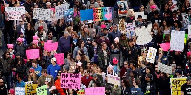 People participate in the second annual Women's March in Los Angeles on Jan. 20, 2018.