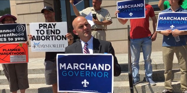 New Hampshire gubernatorial candidate Steve Marchand is warning about abortion rights amid the Kavanaugh confirmation process.
