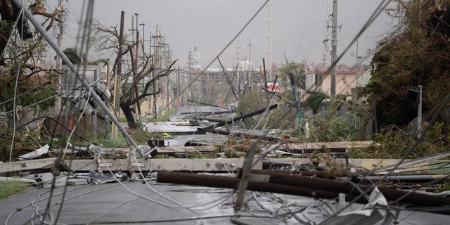 Electricity poles and lines lay toppled on the road after Hurricane Maria hit the eastern region of the island, in Humacao, Puerto Rico.