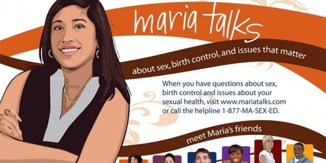 """The website, MariaTalks.com, features a fictitious 18-year-old girl named Maria who informs readers that she was """"overwhelmed"""" by different birth control options when she and her boyfriend began having sex. (MariaTalks.com)"""
