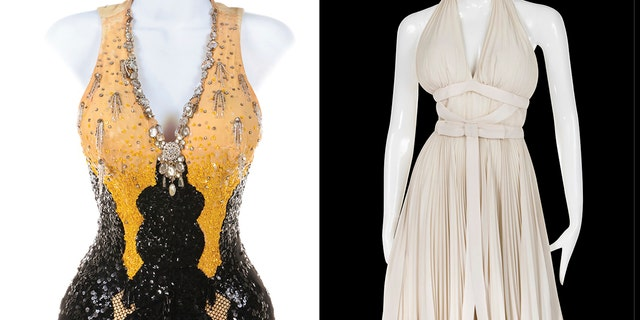 "This combination photo of images released by Profiles in History shows costumes worn by actress Marilyn Monroe in ""Gentlemen Prefer Blondes,"" left, and ""The Seven Year Itch,"" that are up for auction in October 2018."