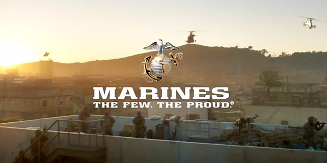 Image from a video released by the U.S. Marine Corps, that will be shown online only Sunday during the Super Bowl and targeting a young, tough, tech-savvy audience for potential recruits who are looking for a challenge.