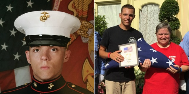 US Marine Lance Cpl. Skip Wells, in his military portrait, and with his mother, Cathy Wells, in a photo taken last week at Disney World, where Skip was honored as a service member of the day. (Courtesy: Cathy Wells)