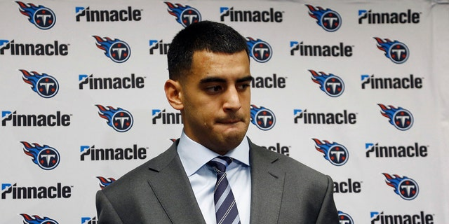 Tennessee Titans quarterback Marcus Mariota listens to a question during a news conference after a difficult loss against the Arizona Cardinals on Dec. 10, 2017.
