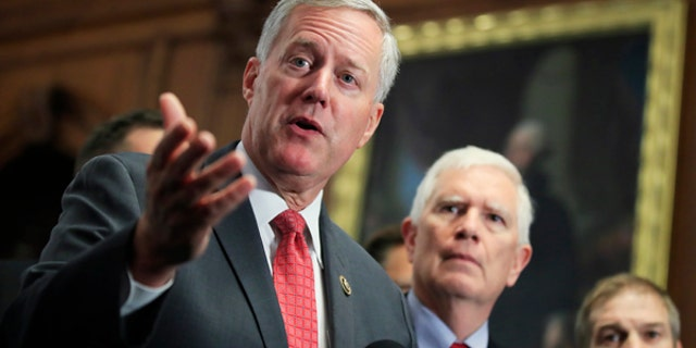 Freedom Caucus Chairman Rep. Mark Meadows, R-S.C., speaks to reporters on Capitol Hill in Washington, Wednesday, July 19, 2017, calling on the House to vote on clean repeal of the Affordable Care Act. (AP Photo/Manuel Balce Ceneta)