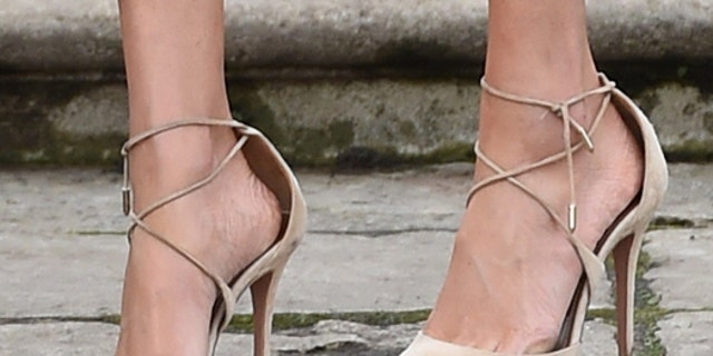 Markle wore Aquazzura's suede Matilde shoe during her royal engagement announcement at Kensington Palace.