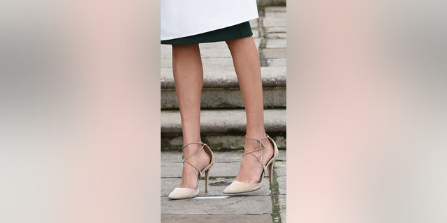 Markle wore Aquazzura's suede Matilde shoe during her royal engagement announcement at Kensington Palace.