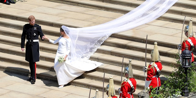 Meghan Markle's long, elegant wedding dress.