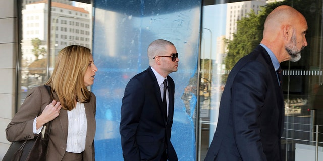 "Former ""Glee"" actor Mark Salling arrives at federal court in Los Angeles on Monday, Dec. 18, 2017. Salling pleaded guilty to possession of child pornography."
