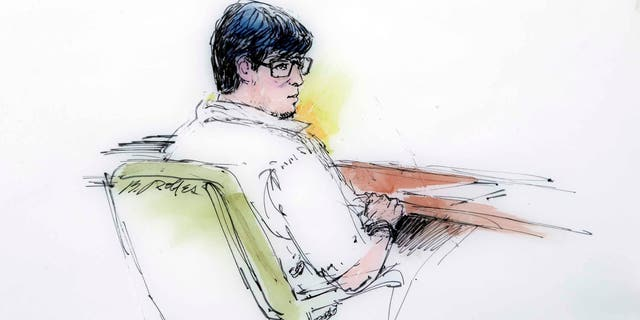 Courtroom sketch of Enrique Marquez in federal court in Riverside, Calif., Monday, Dec. 21, 2015.