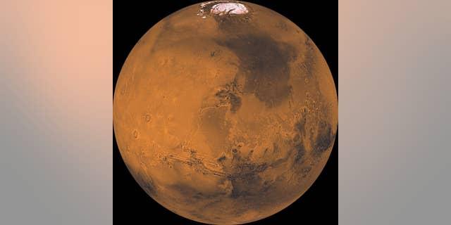 Mars as seen by NASA's Viking 1 orbiter.