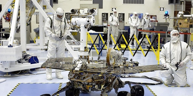 Pre-launch photo of NASA's Opportunity Mars rover at Kennedy Space Center in Florida.