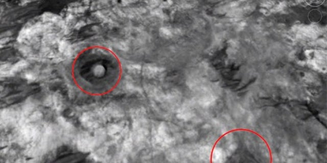 The 'dome' and 'pyramid' features on the surface of Mars (Google Earth/ESA/DLR/FU Berlin, G. Neukum)
