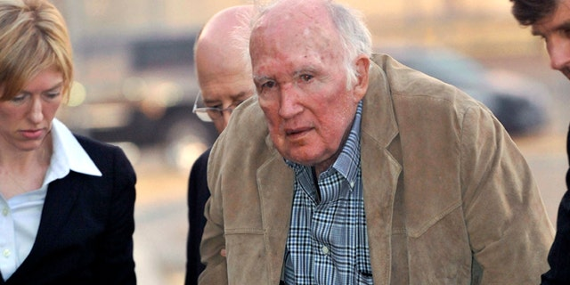 Nov. 28, 2012: Millionaire artist Stanley Marsh 3 is booked into the Potter County, Texas, Detention Center. (AP/Amarillo Globe-News, Michael Schumacher)