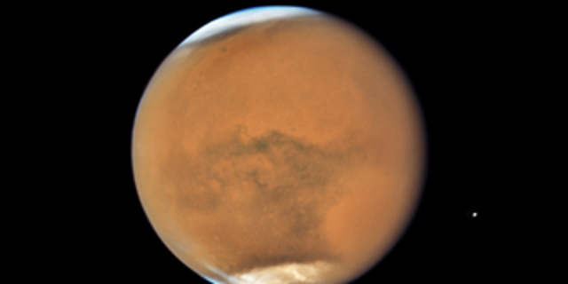 NASA's Hubble Space Telescope photographed Mars on July 18, near its closest approach to Earth since 2003. (NASA, ESA, and STScI)