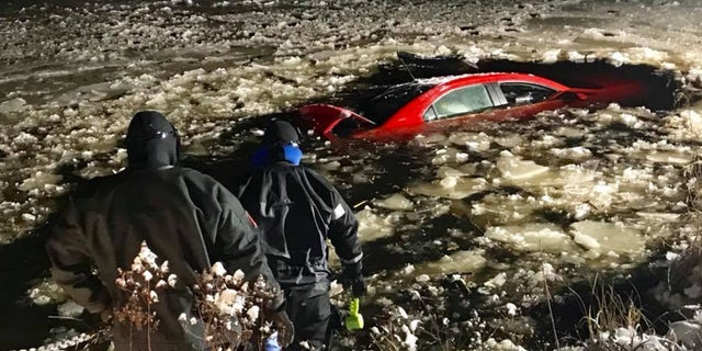 A man survived after crashing his car into a pond in Massachusetts, thanks to the help of firefighters and a plow driver who was at the right place at the right time.