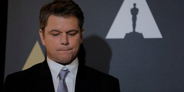 """Actor Matt Damon speaks at the reception before the 89th Academy Awards in Hollywood, Calif. He is now facing a petition to remove his cameo in """"Ocean's 8."""""""