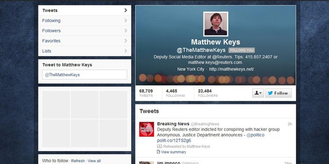 This screengrab taken on March 14, 2013 shows the Twitter account of Matthew Keys. At the top of the page is a retweet of a story detailing Keys' indictment.