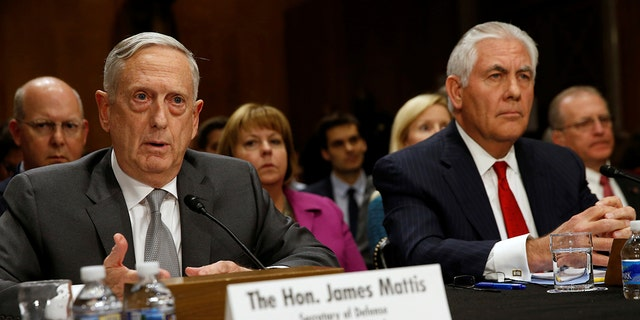 U.S. Defense SecretaryJames Mattis and Secretary of State Rex Tillerson testify about authorizations for the use of military force before the Senate Foreign Relations Committee on Capitol Hill in Washington, U.S. October 30, 2017.