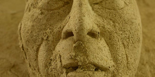 """The stucco mask that is believed to depict """"Pakal the great"""" (Héctor Montaño, INAH)"""