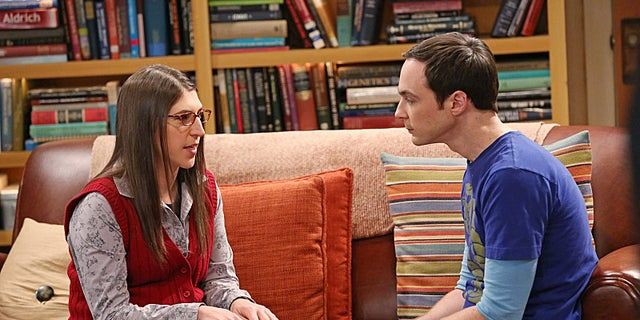 """The Locomotive Manipulation"" -- Love is in the air when Sheldon (Jim Parsons, right) and Amy (Mayim Bialik, left) join Howard and Bernadette for a trip to wine country, on THE BIG BANG THEORY, Thursday, Feb. 6 (8:00 âÃÂà8:31 PM, ET/PT) on the CBS Television Network.  Photo: Michael Yarish/WBEI  ÃÂé 2014 WBEI. All rights reserved."