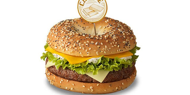 """McDonald's France's new Bagel Burgers come in three different varieties: """"Cheese,"""" """"Red Onions"""" and """"Bacon."""""""