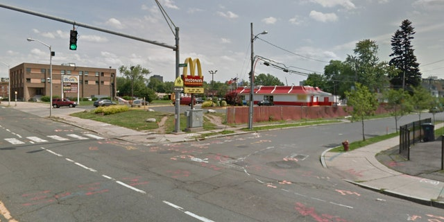 The incident took place in the parking lot of a McDonald's in Hartford, Conn. on Saturday morning.