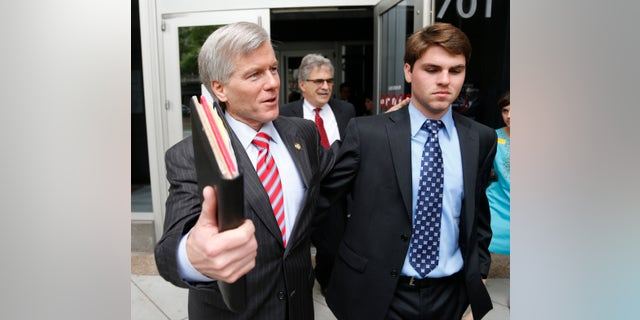 Sept. 3, 2014: Former Virginia Gov. Bob McDonnell, left, leaves Federal Court with his son Bobby  as the jury begins its second day of deliberations in his corruption trial in Richmond, Va.