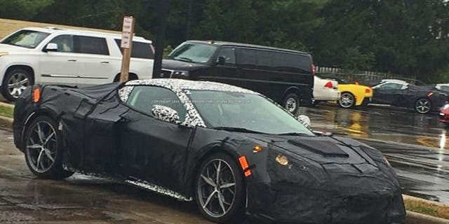 Suspected mid-engine Corvette prototype spotted on the road.