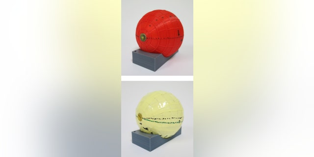 Superconducting layer surrounded by the plastic former  to hold the ferromagnetic pieces. (Bottom) Final aspect of the wormhole including a plastic protection in yellow.