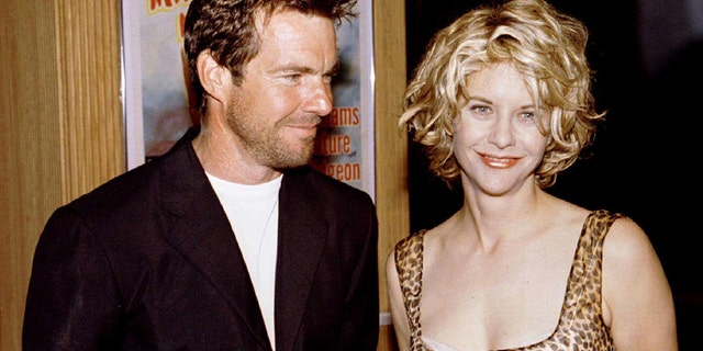 FILE PHOTO 8JUL96 - Meg Ryan (R) poses with her husband, actor Dennis Quaid, in this July 8, 1996 file photo. Ryan and Quaid, considered one of Hollywood's steadier couples, have separated after nine years of marriage, their publicist said on Thursday. There was no word on whether they had plans to divorce.