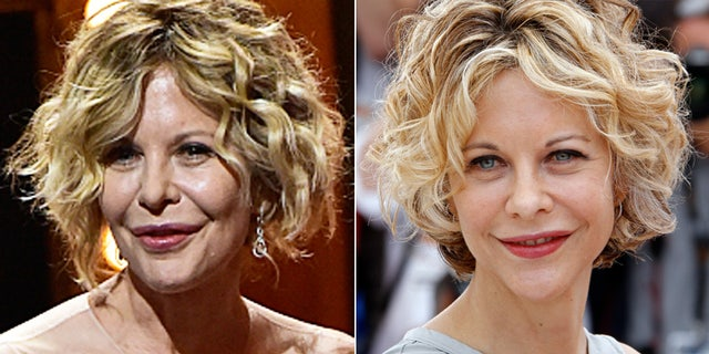 Meg Ryan at the 2016 Tonys, left, and in 2010.