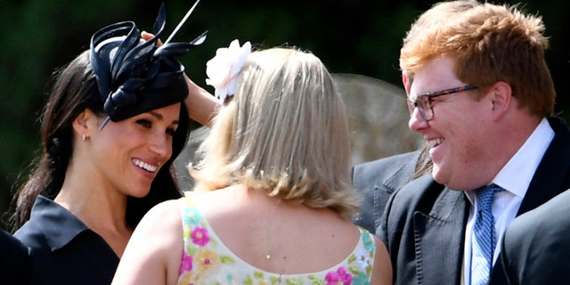 The duchess was snapped outside of the chapel chatting with wedding guest on her birthday.