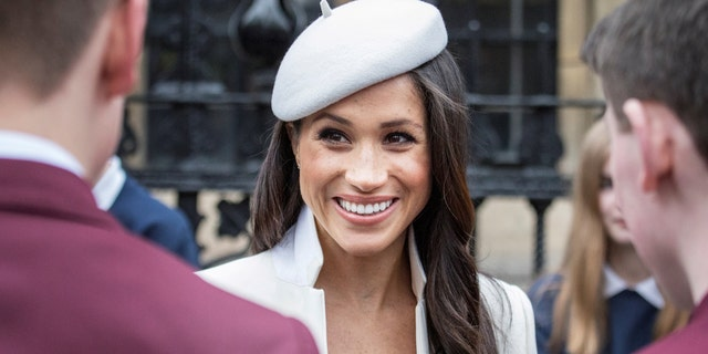 Markle donned all white outfit during royal family outing in March.