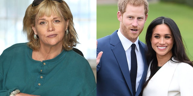 Samantha Markle (left), the half-sister of Duchess Meghan Markle, standing aside husband Prince Harry (right).