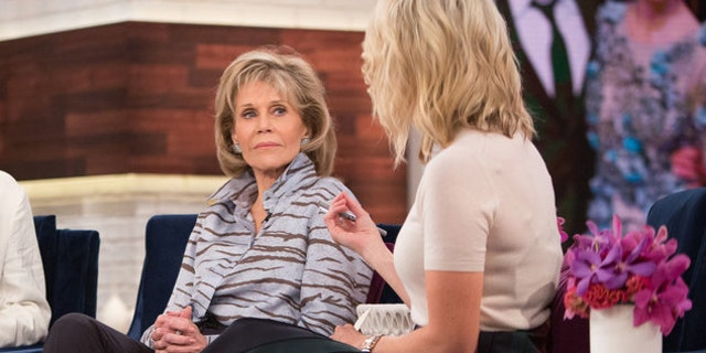 "Jane Fonda (left) appeared on Megyn Kelly's (right) show to promote her film ""Our Souls at Night"" on Sept. 27, 2017."