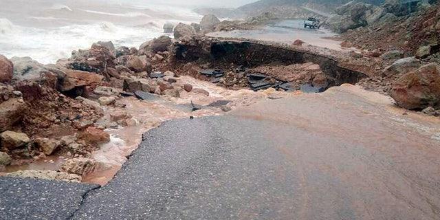 May 24, 2018: Heavy rain and strong winds caused damage in Hadibu as Cyclone Mekunu pounded the Yemeni island of Socotra.