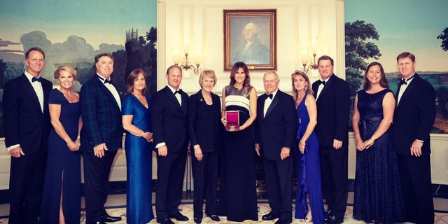 The first lady congratulated Jack Nicklaus and Sheila C. Johnson, this year's recipients of the Lincoln Medal.