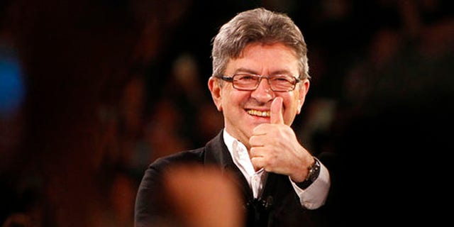 April 12, 2017: French left-wing party leader and candidate for the 2017 presidential election, Jean-Luc Melenchon gestures during a meeting in Lille, northern France.