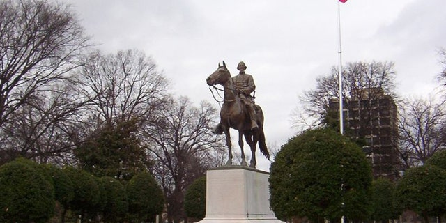 A statue of Nathan Bedford Forrest, an early member of the Ku Klux Klan, is seen in Memphis, Tennessee.