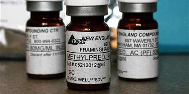 Vials of the steroid distributed by New England Compounding Center (NECC) - implicated in a meningitis outbreak - are pictured in this undated handout photo obtained by Reuters October 14, 2012. The outbreak has killed 15 people and put 14,000 at risk of contracting meningitis. REUTERS/Minnesota Department of Health/Handout.