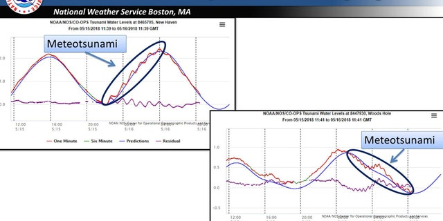 Tidal gauges show the fluctuations in water levels in Southern New England after thunderstorms generated a meteotsnuami on Tuesday.