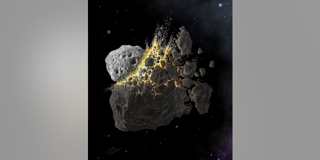 The breakup of around five large bodies from the early solar system could have contributed most of the asteroids in the inner asteroid belt — the ones most likely to fall to Earth. Credit: Don Davis
