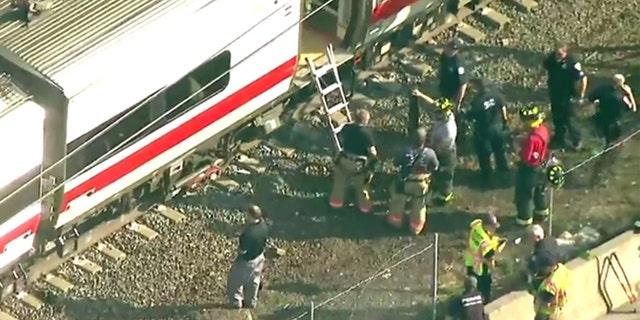 A Metro-North train derailed in Rye, N.Y., May 18, 2017.