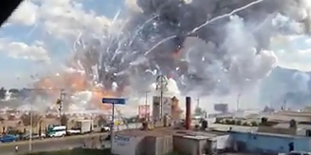 This image made from video shows an explosion ripping through the San Pablito fireworks' market in Tultepec, Mexico, Tuesday, Dec. 20, 2016.